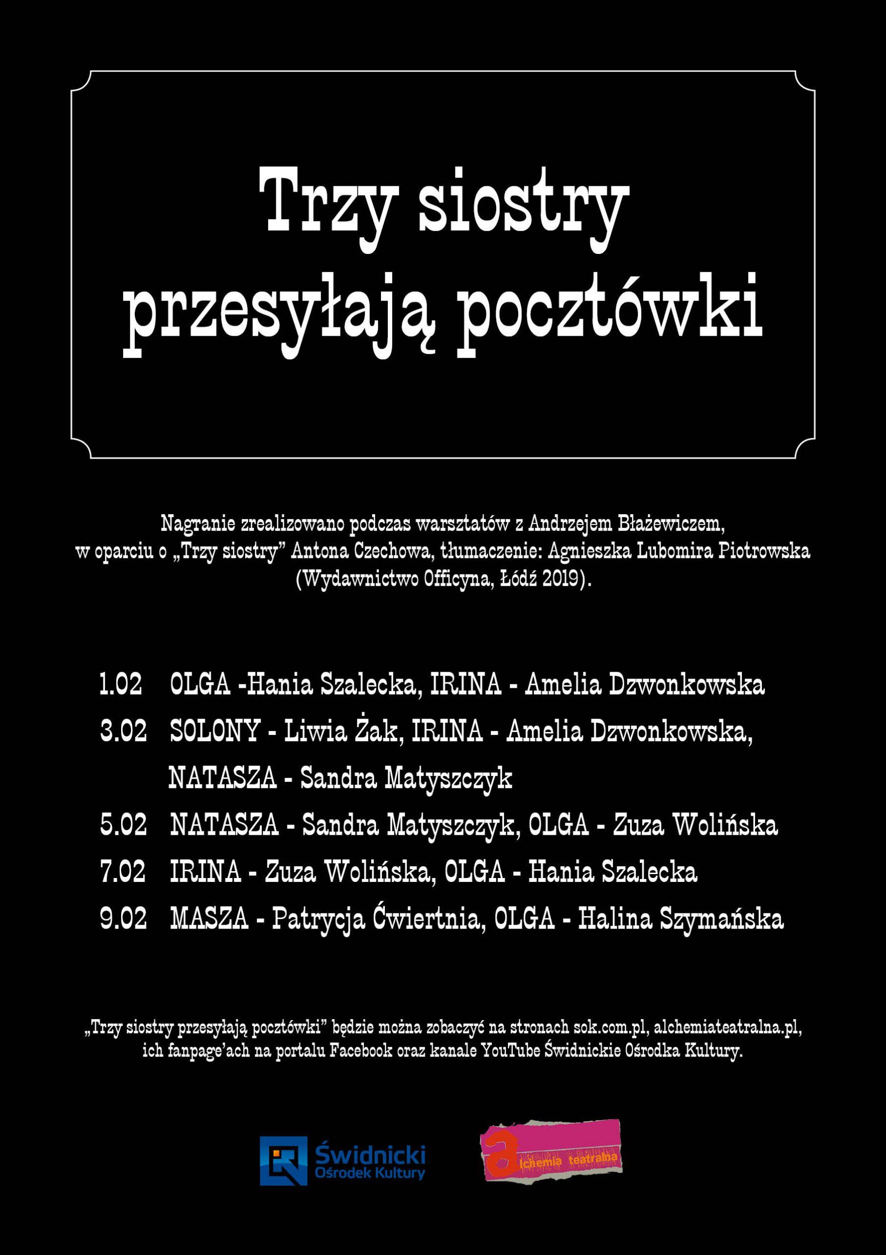 plakat informujący o pokazach on-line